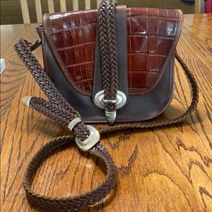 Vintage Brighton Crossbody Woven Leather purse